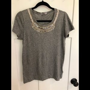 JCrew TShirt with embellished neckline/collar